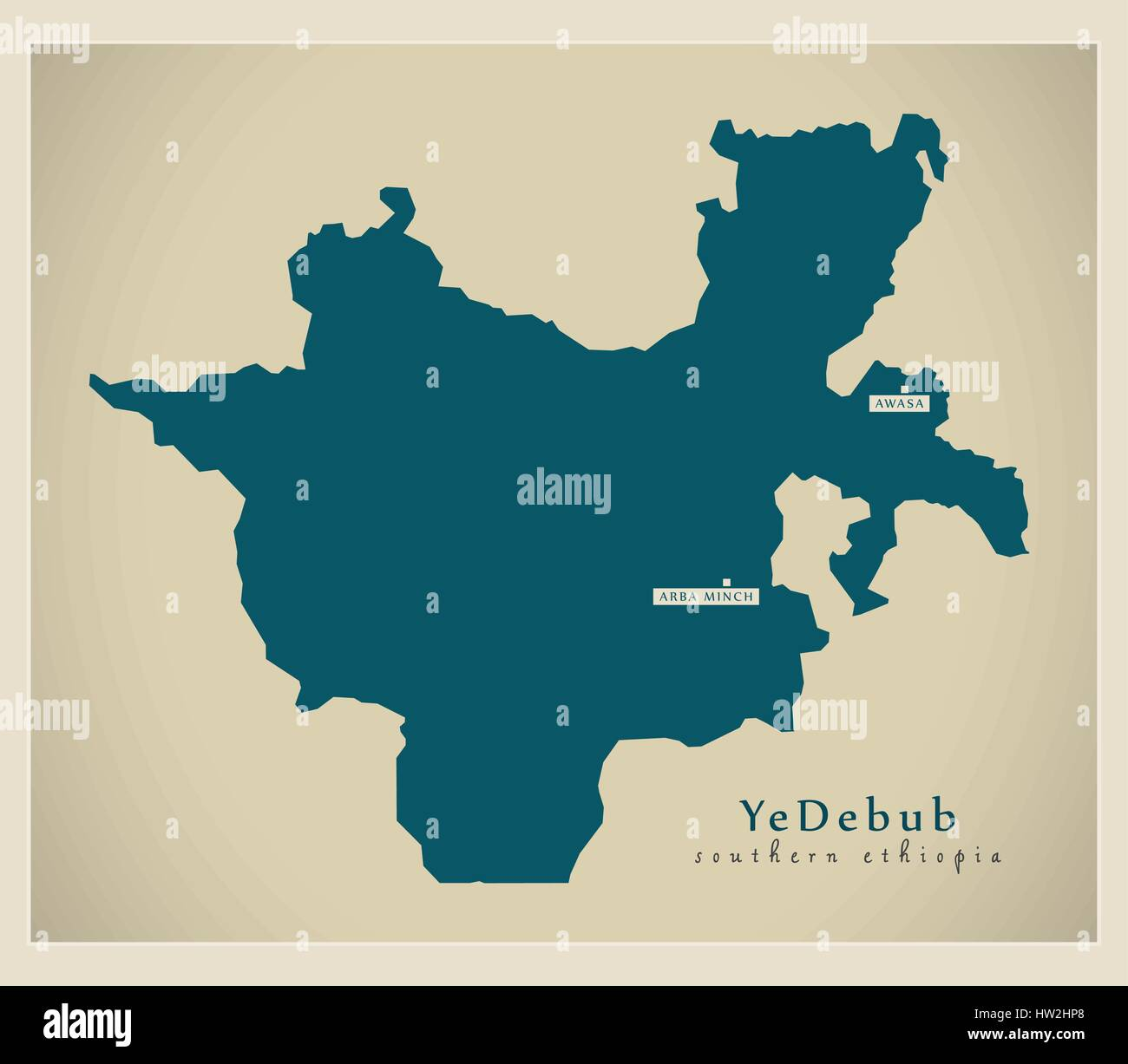 Modern Map - YeDebub ET Stock Vector