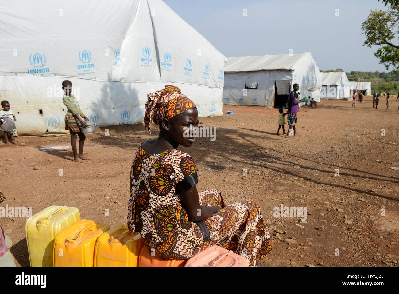 UGANDA, Arua, south sudanese refugees in Bidi Bidi refugee settlement / suedsudanesische Fluechtlinge im Fluechtlingslager - Stock Image