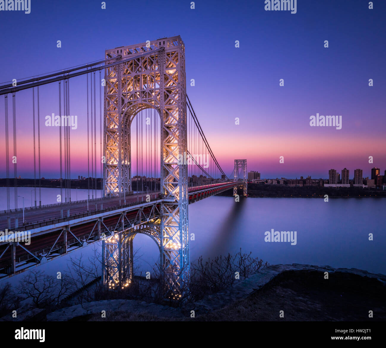 Only a very few times a year is the impressive George Washington Bridge lit up. One of those times is President's - Stock Image