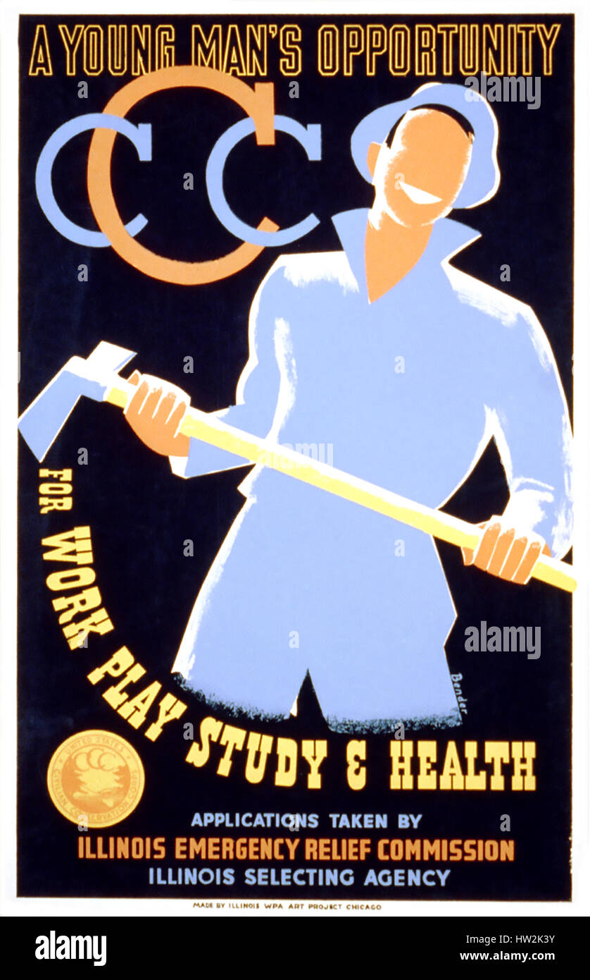 CIVILIAN CONSERVATION CORPS poster 1935 - Stock Image