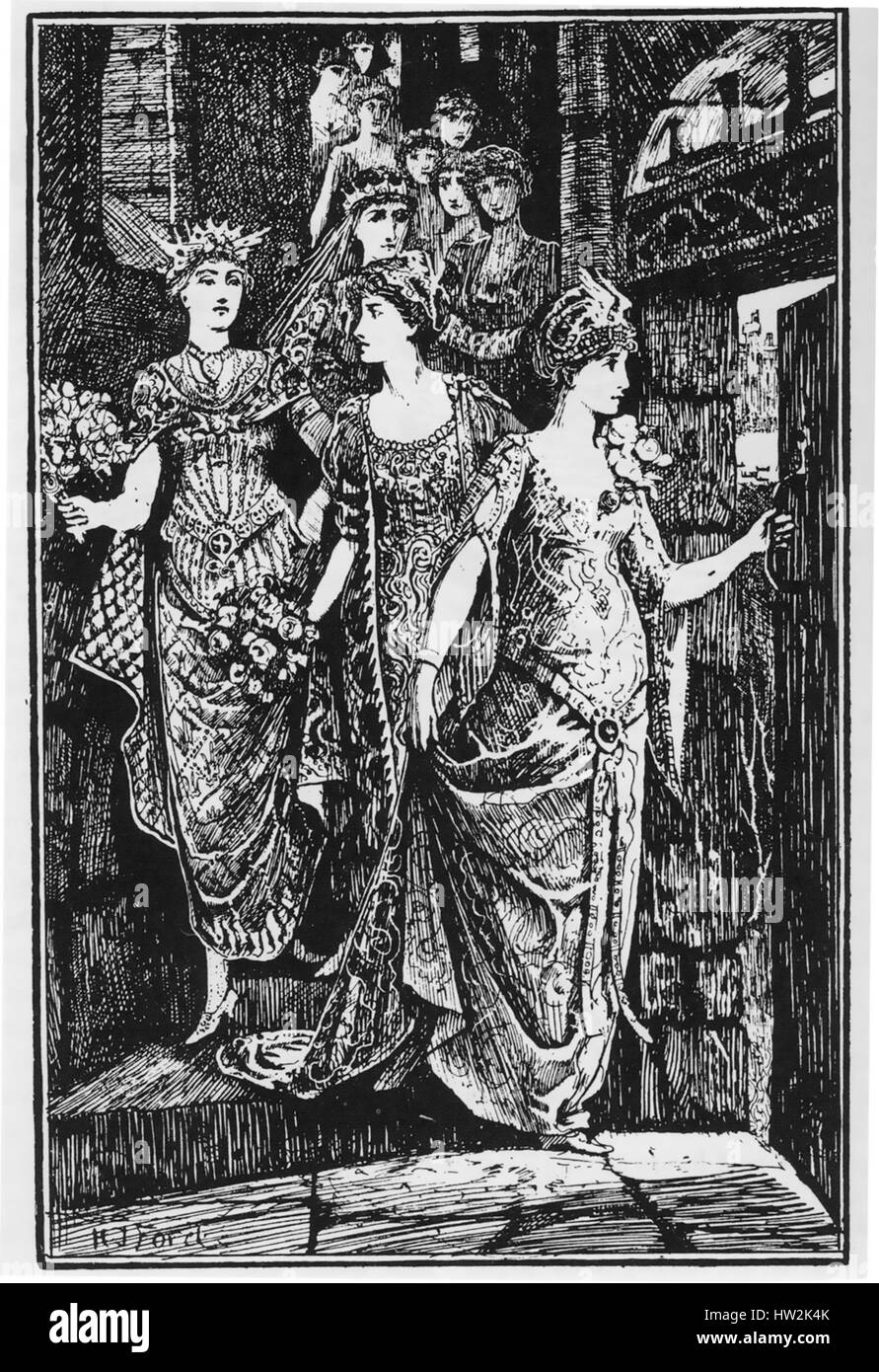 THE TWELVE DANCING PRINCESSES. Fairy tale collected by the Brothers Grimm.  Illustration by H.J.Ford from an 1890 - Stock Image