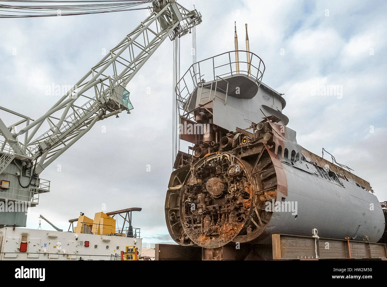 Merseytravel submarine U 534 gets cut into pieces at Birkenhead docks. It  is now a static display at the Woodside ferry terminal in Birkenhead.