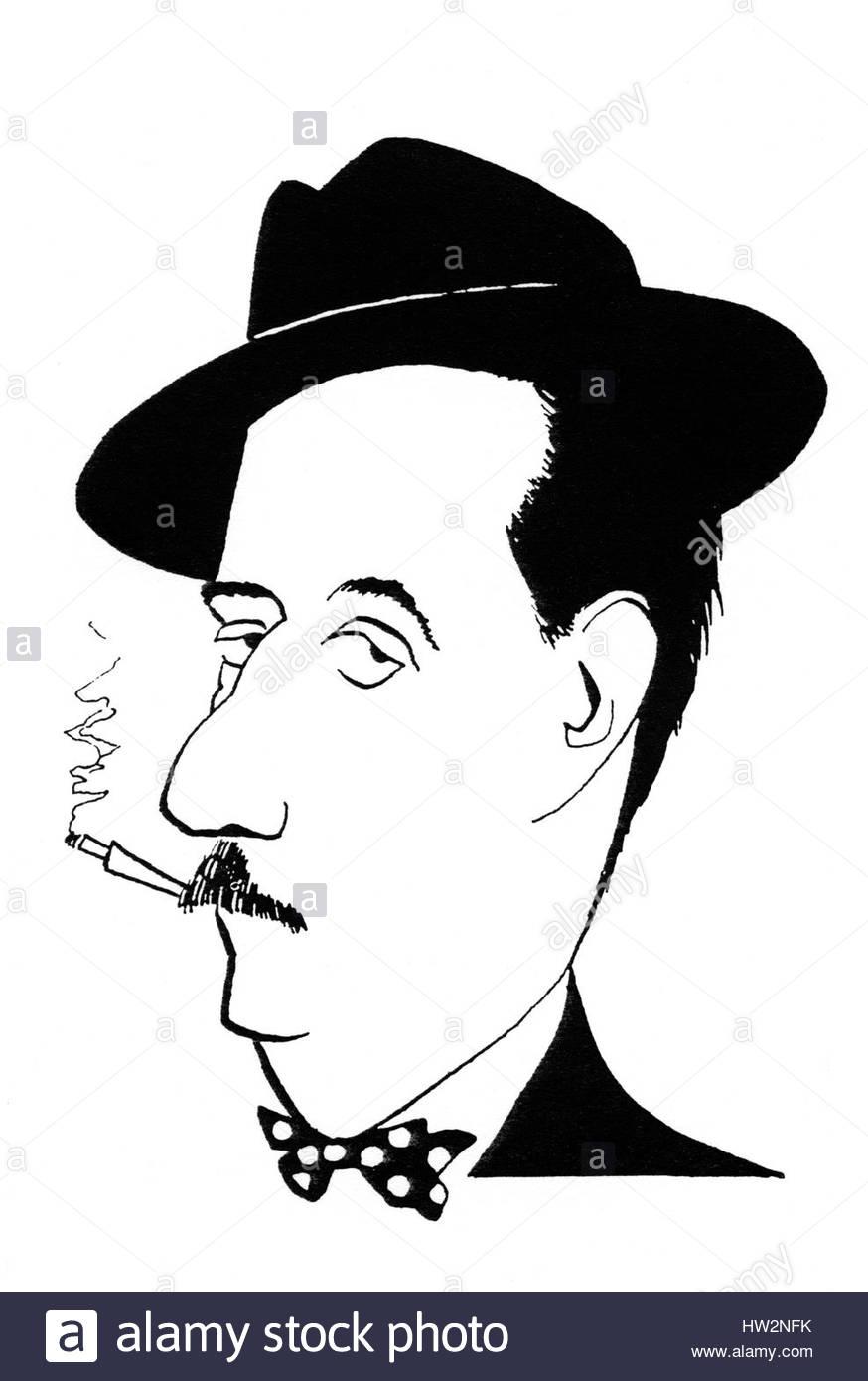 Cigarette Caricature giacomo puccini - caricature, smoking a cigarette. italian composer