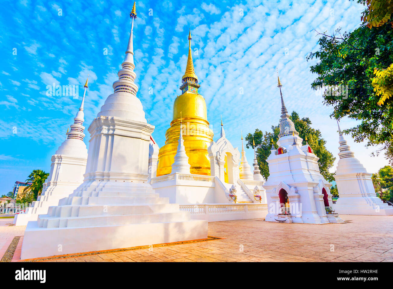 Wat Suan Dok is a Buddhist temple Wat in Chiang Mai, northern Thailand. It's a Royal Temple of the Third Class. - Stock Image