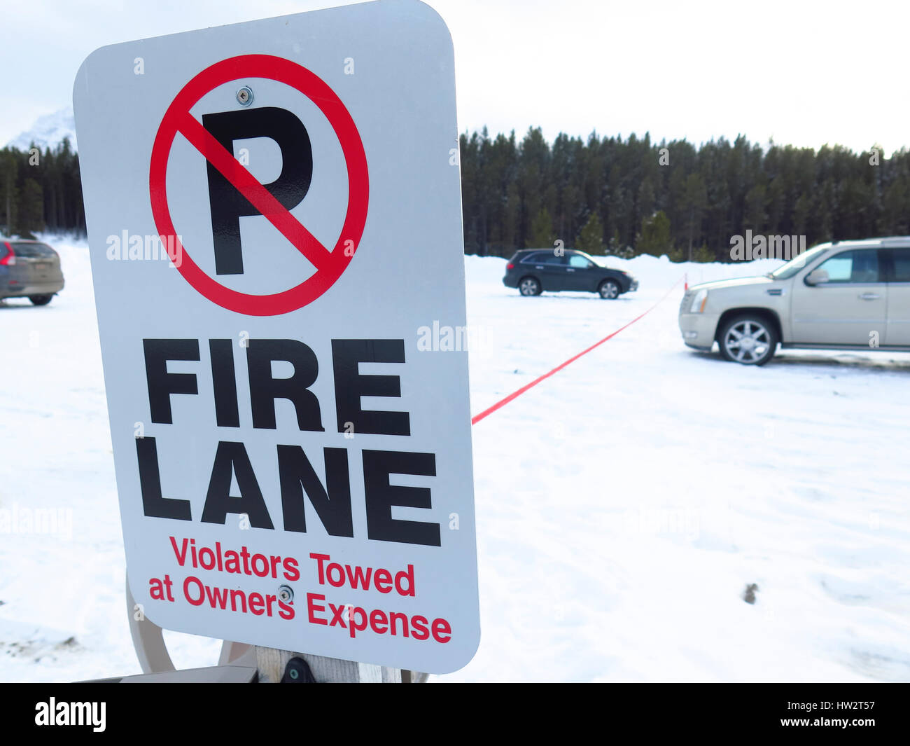 Fire Lane no parking sign Stock Photo