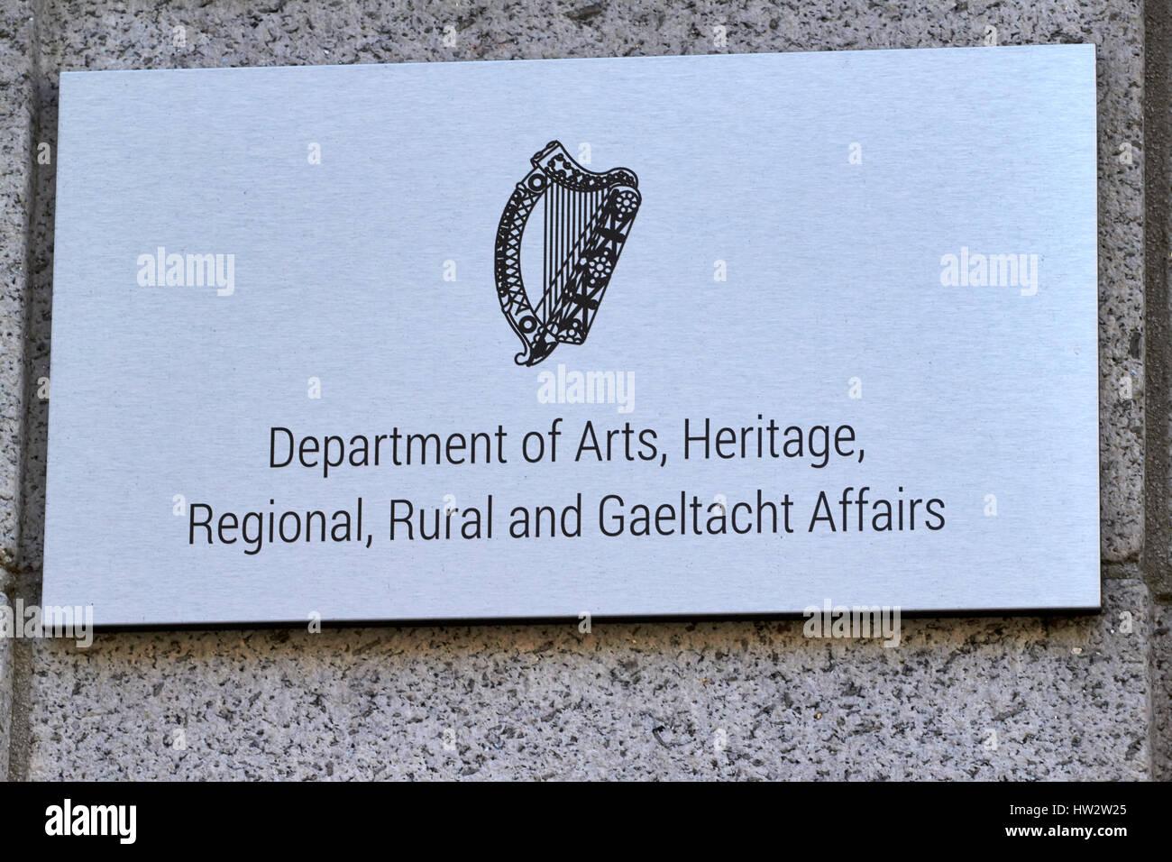 department of arts heritage regional rural and gaeltacht affairs Dublin Republic of Ireland - Stock Image