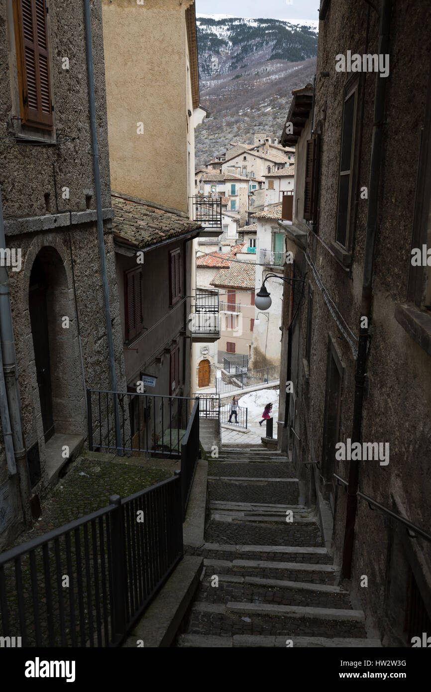 The streets of Scanno, Abruzzo, Italy - Stock Image