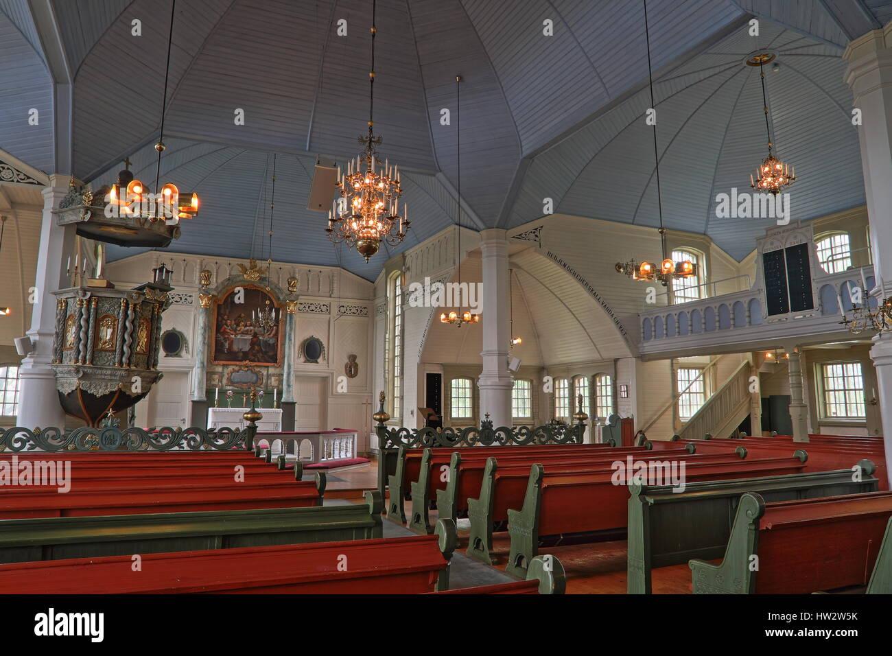 Inside church in Arjeplog, Lappland, Sweden - Stock Image