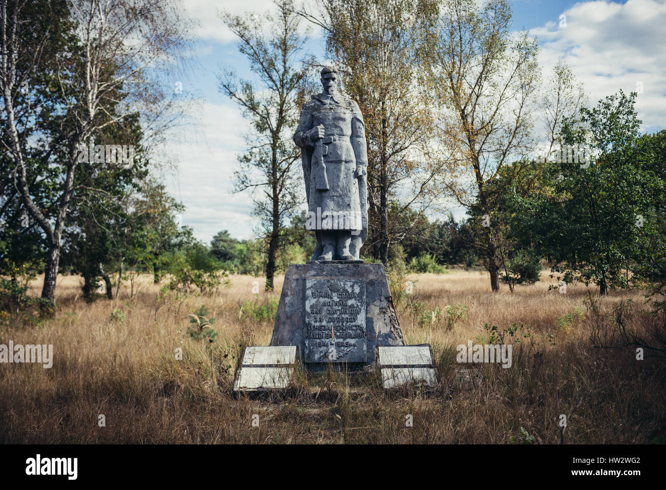 Second World War memorial in Mashevo abandoned village of Chernobyl Nuclear Power Plant Zone of Alienation around - Stock Image
