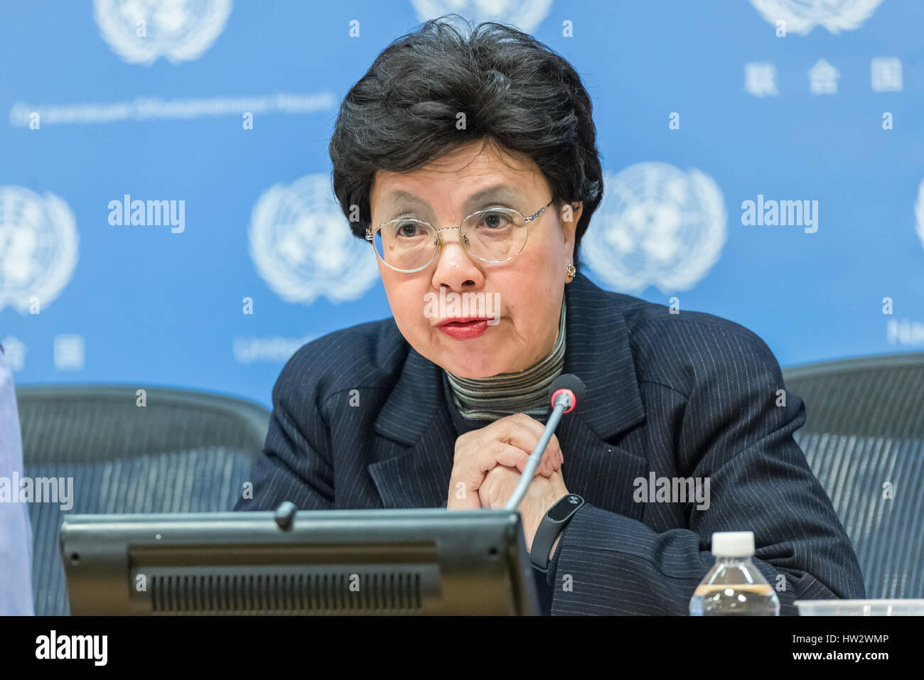 New York, United States. 16th Mar, 2017. WHO Director-General Margaret Chan, Group Co-Chair, is seen speaking with Stock Photo