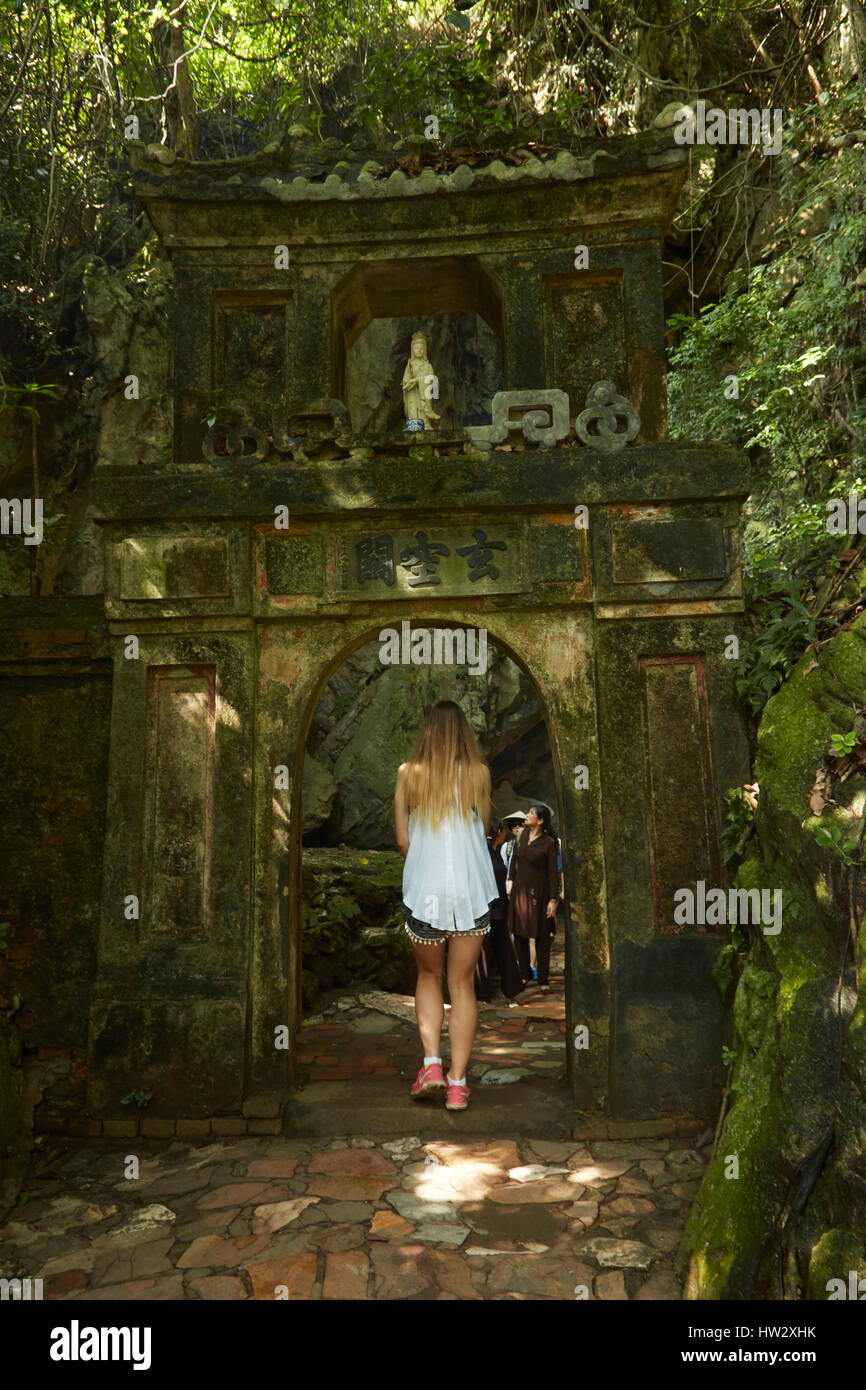 Tourist visiting Marble Mountains, Da Nang, Vietnam (MR) - Stock Image