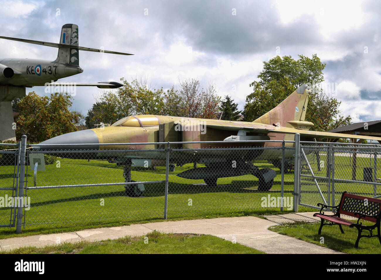 Mikoyan MiG-23 Flogger tactical fighter on Display at Air Defence Museum, CFB Bagotville, Saguenay, QC, Canada - Stock Image