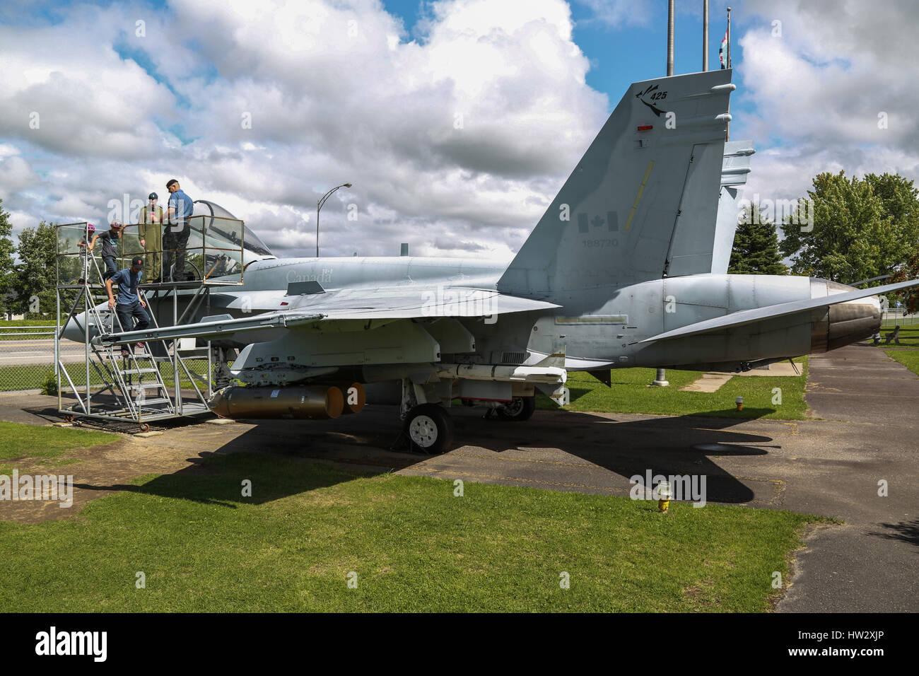 McDonnell Douglas CF-18 Hornet on Display at Air Defence Museum, CFB Bagotville, Saguenay, QC, Canada - Stock Image