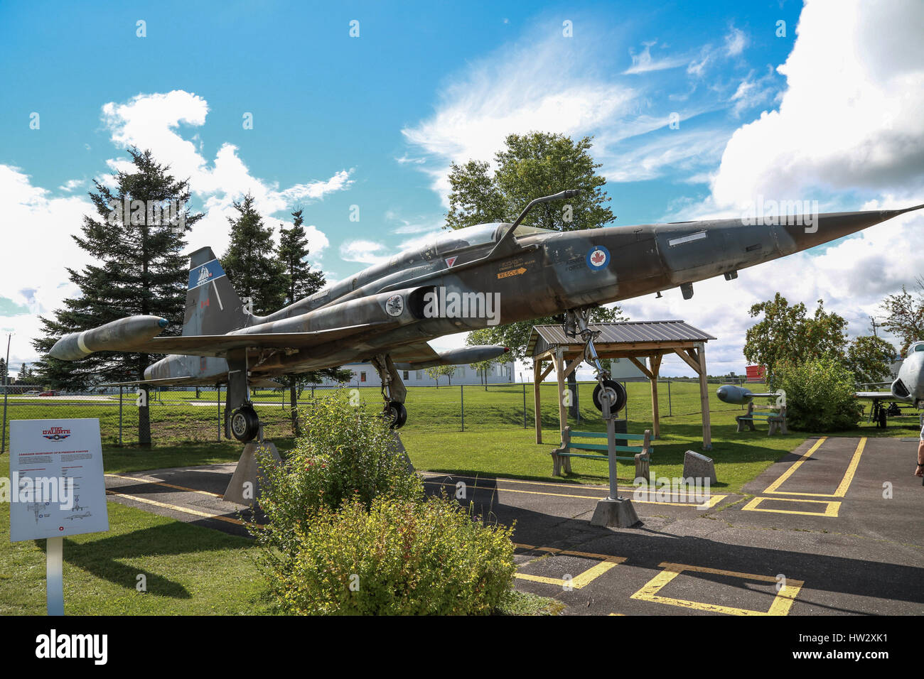 Canadian Forces CF-5A Freedom Fighter on Display at Air Defence Museum, CFB Bagotville, Saguenay, QC, Canada - Stock Image