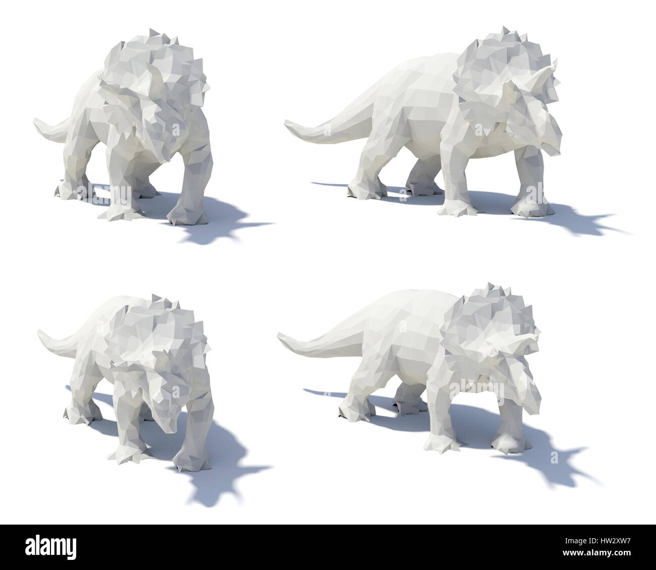 low poly style triceratops Stock Photo