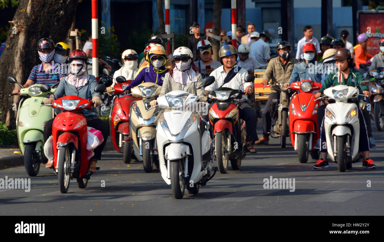 Ho Chi Minh City, Vietnam - April 07, 2015: Over 4 Million Motorcycles & Scooters dominate the busy streets - Stock Image