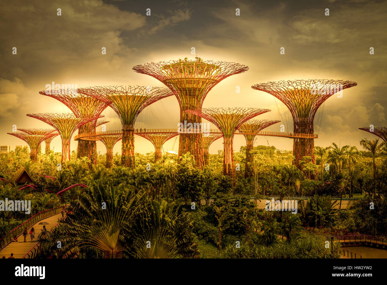 Gardens by the Bay, Singapore, digitally altered Stock Photo ...