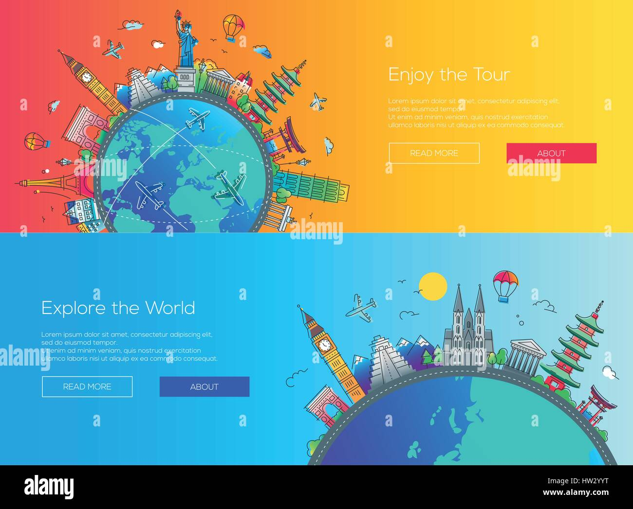 Flat design web page travel banners set - Stock Vector