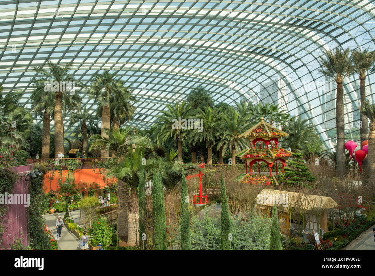View in the Flower Dome, Gardens by the Bay, Singapore - Stock Image