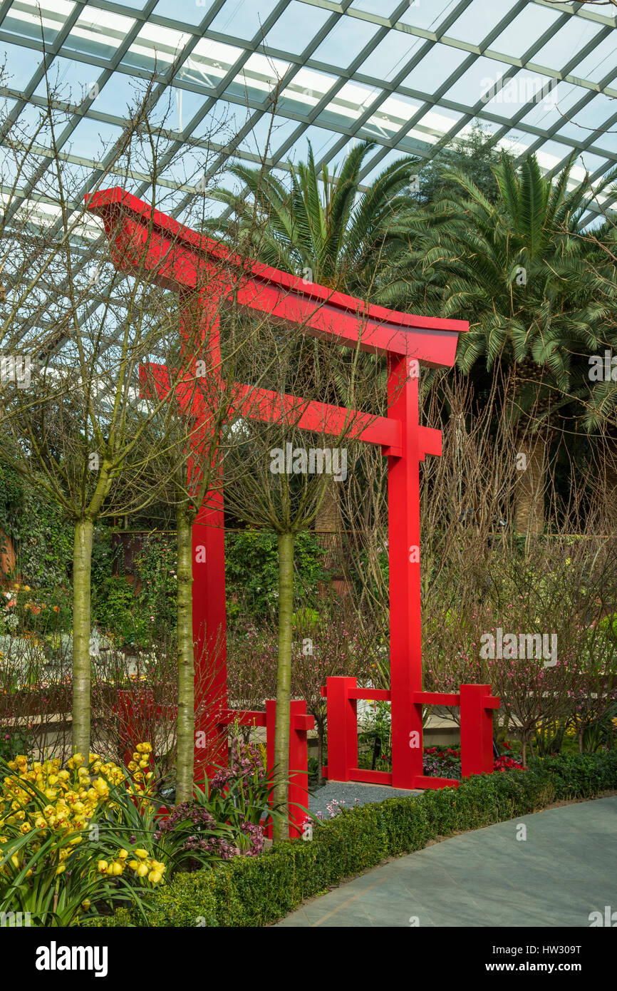 Torii in the Flower Dome, Gardens by the Bay, Singapore - Stock Image