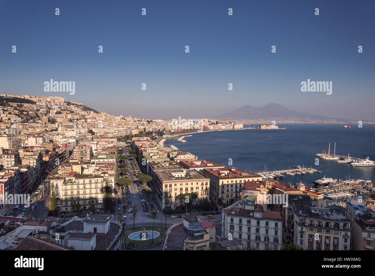 Naples and the Gulf of Naples with Mount Vesuvius in the background, seen from Mergellina, Italy. - Stock Image