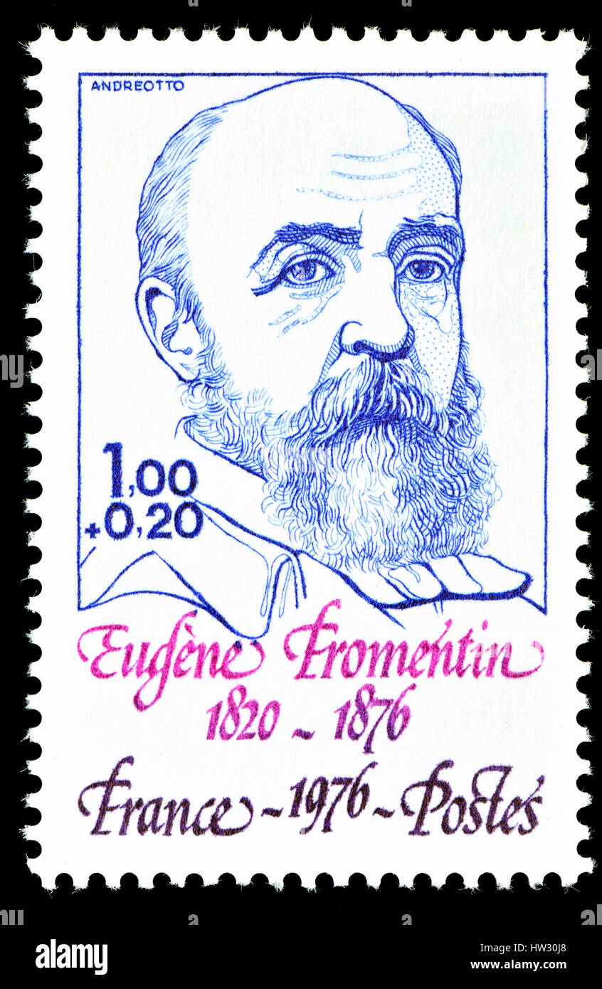 French postage stamp (1976) : Eugène Fromentin (1820 – 1876) French painter and writer - Stock Image