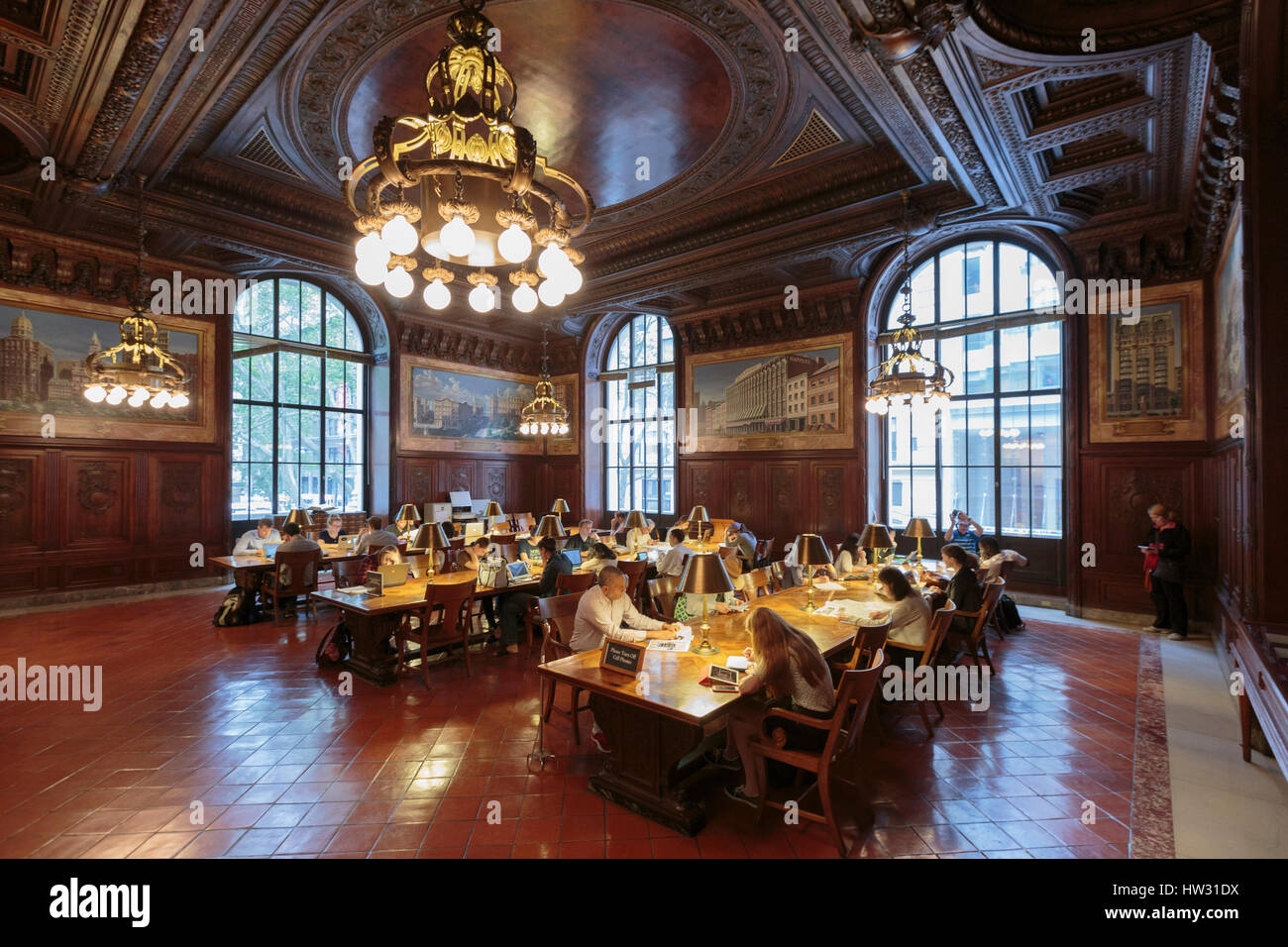 USA, New York, New York City, Manhattan, National Public Library, DeWitt Wallace Periodicals Room - Stock Image