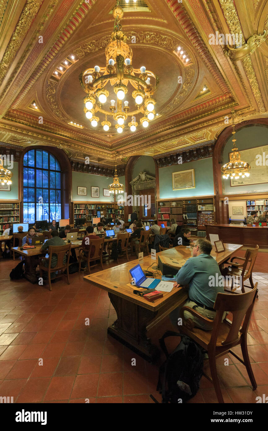 USA, New York, New York City, Manhattan, National Public Library, Map Division Room - Stock Image