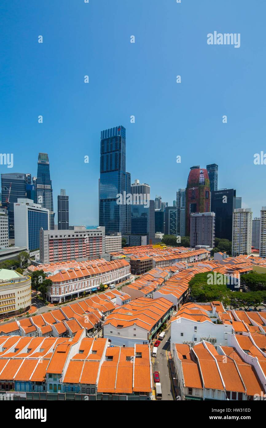 A Vertical View of Tanjong Pagar Centre, Singapore Tallest Building in Vertical Format. - Stock Image