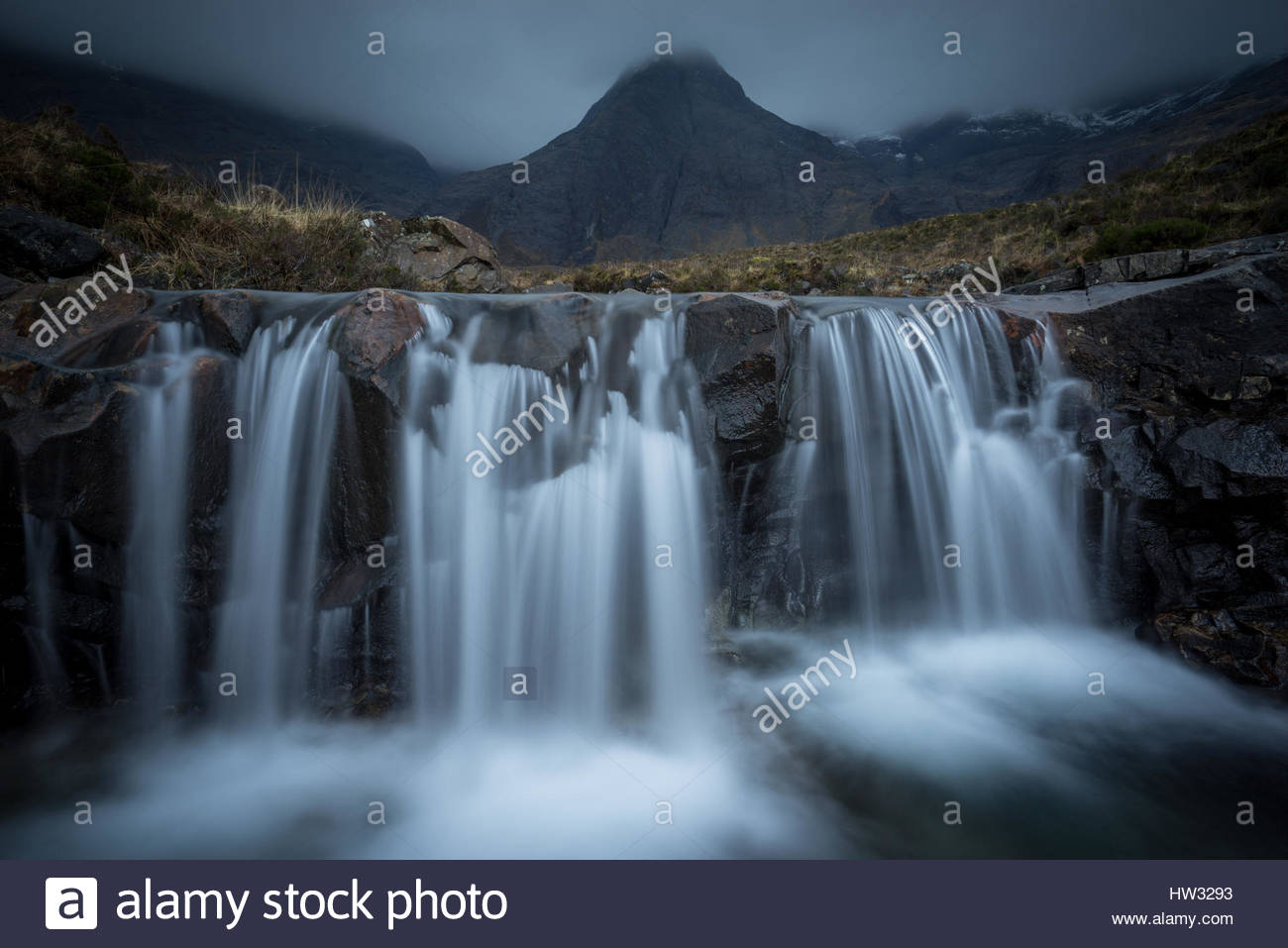 Dramatic conditions at the Fairy Pools on the Isle of Skye. - Stock Image
