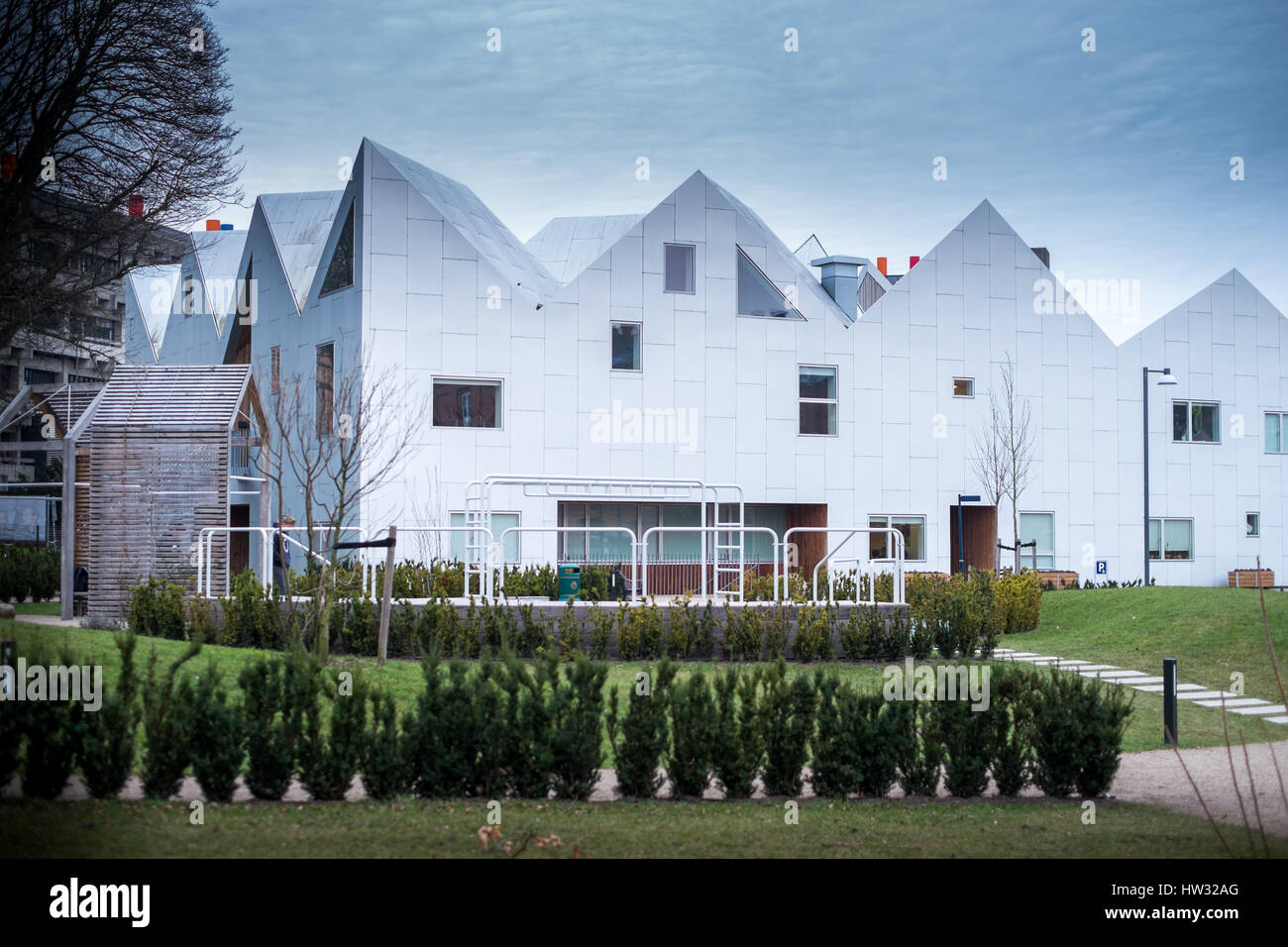 The distinctive gable ends of Nord architect's healthcare centre for cancer care in Nørrebro, Copenhagen, - Stock Image