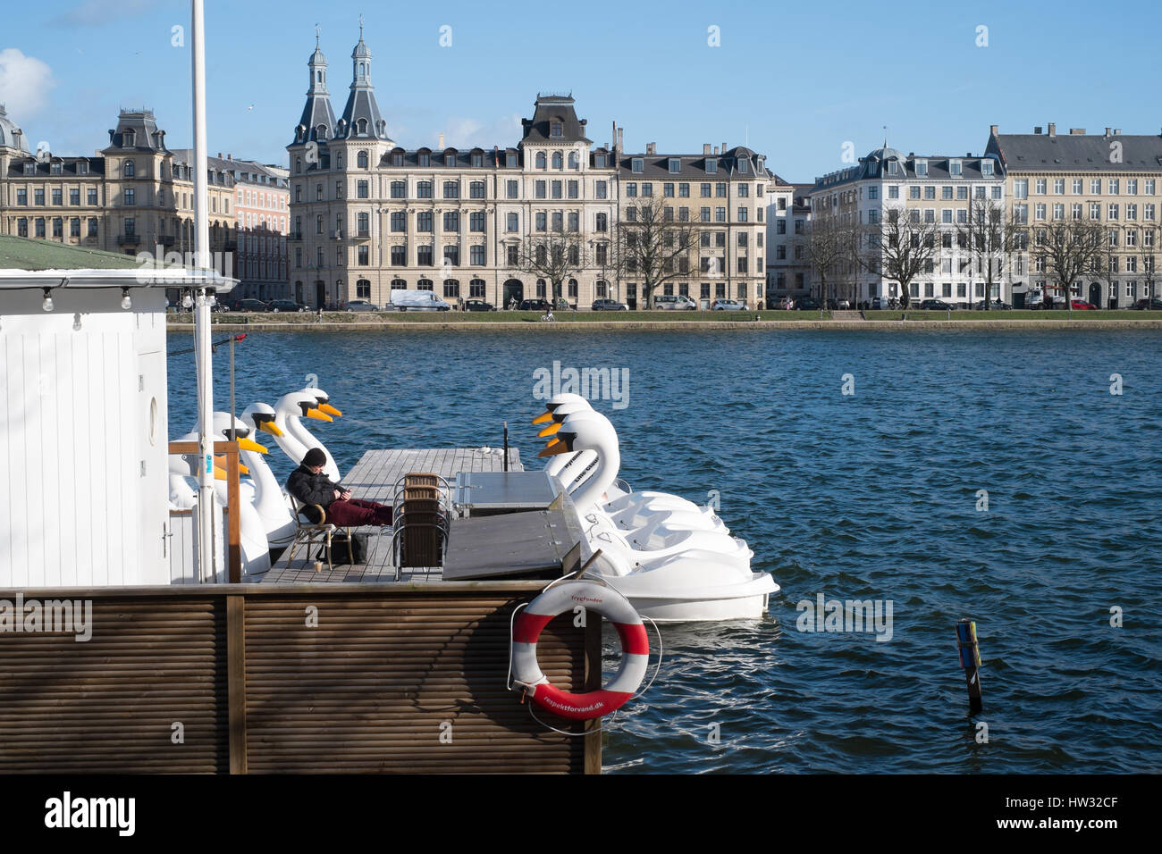 Swan boats at Søerne (The Lakes) in early spring, Copenhagen, Denmark - Stock Image