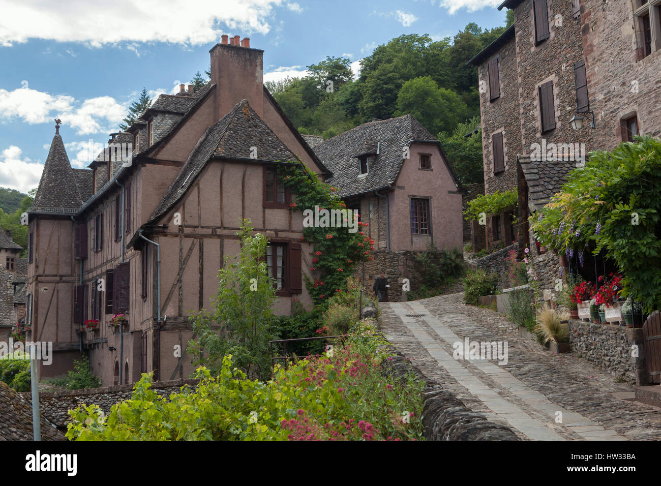 medieval houses in conques, aveyron, france stock photo: 135907502