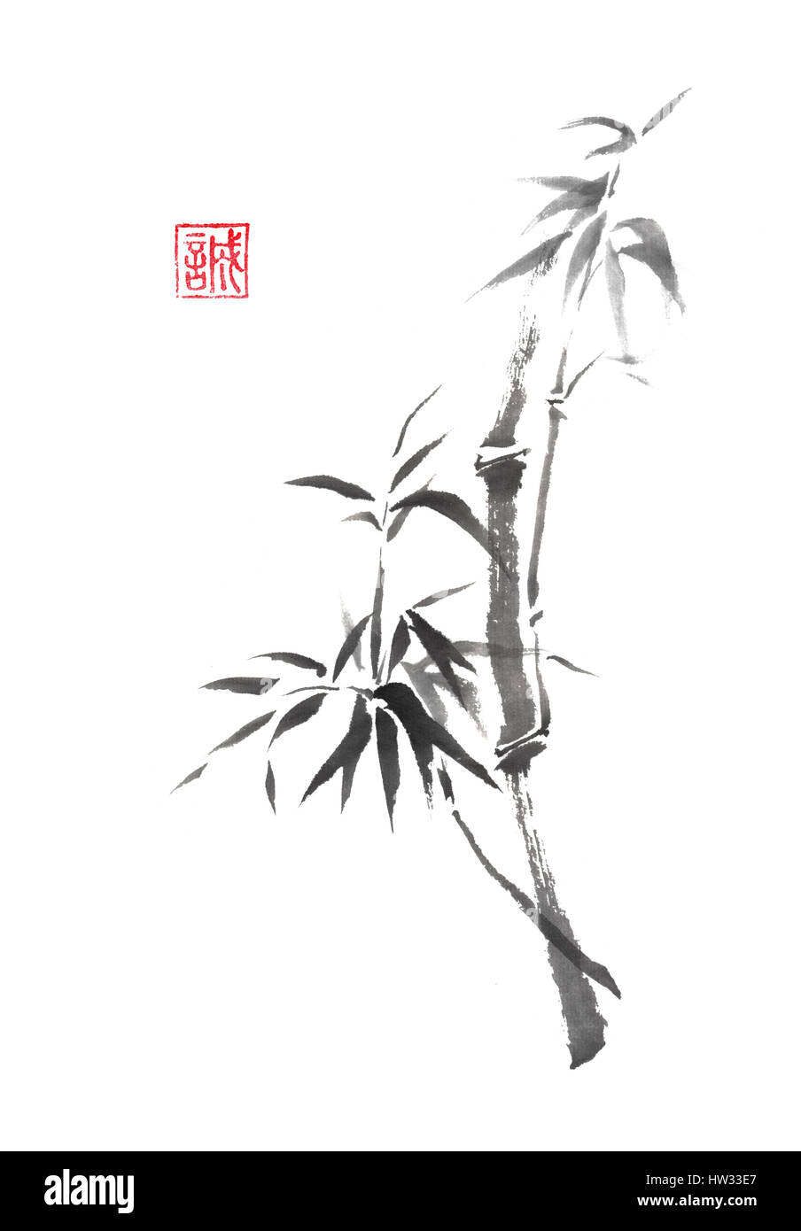 japanese style sumi e curved bamboo branch painting stock photo