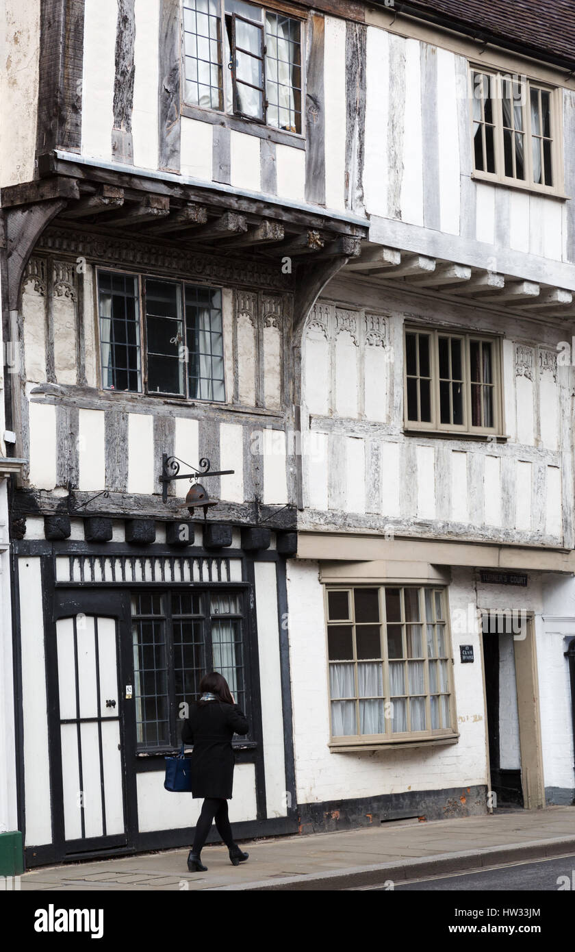 Medieval buildings in Tewkesbury, Gloucestershire England UK - Stock Image