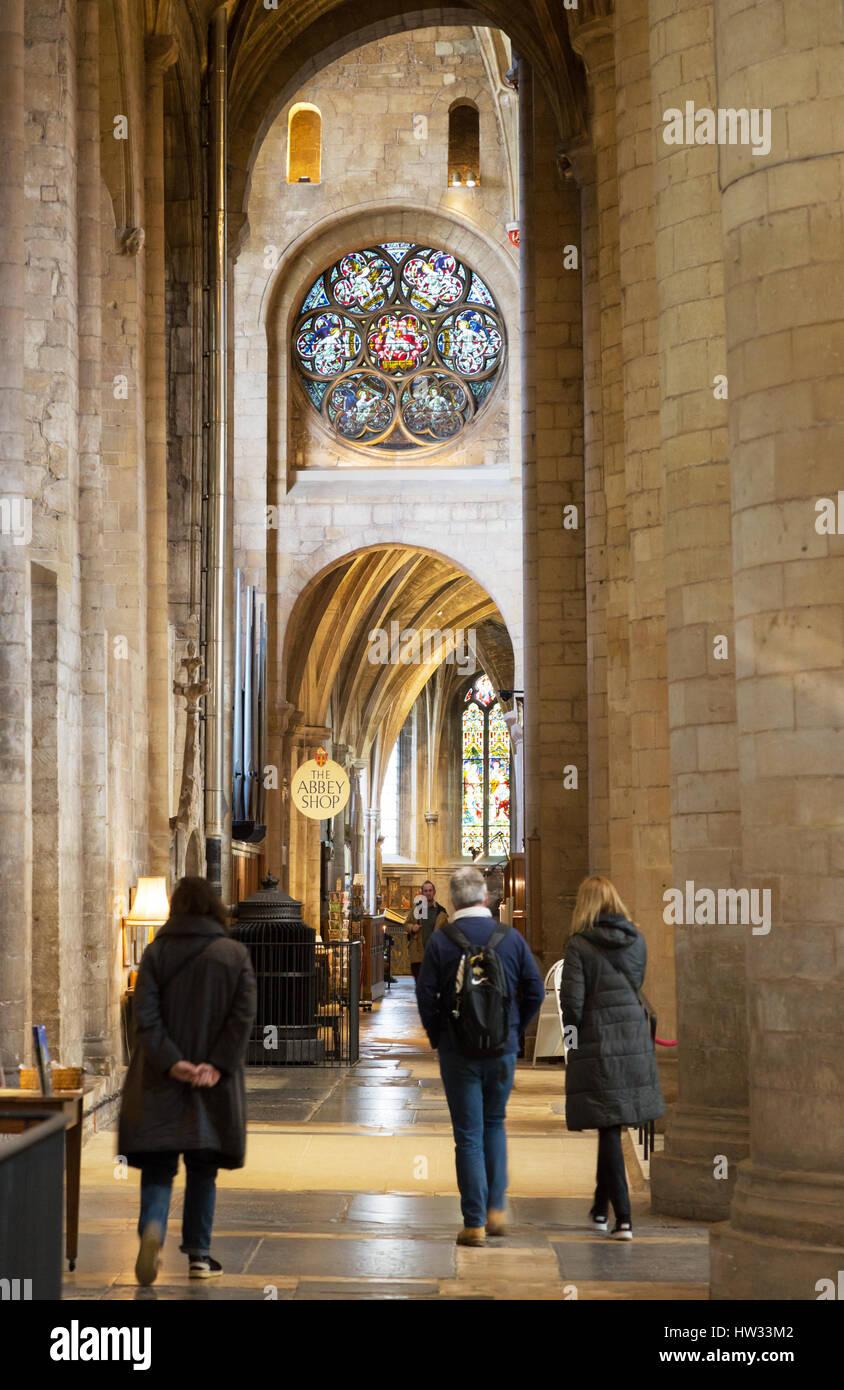 Tewkesbury Abbey interior, and visitors, Tewkesbury, Gloucestershire England UK - Stock Image