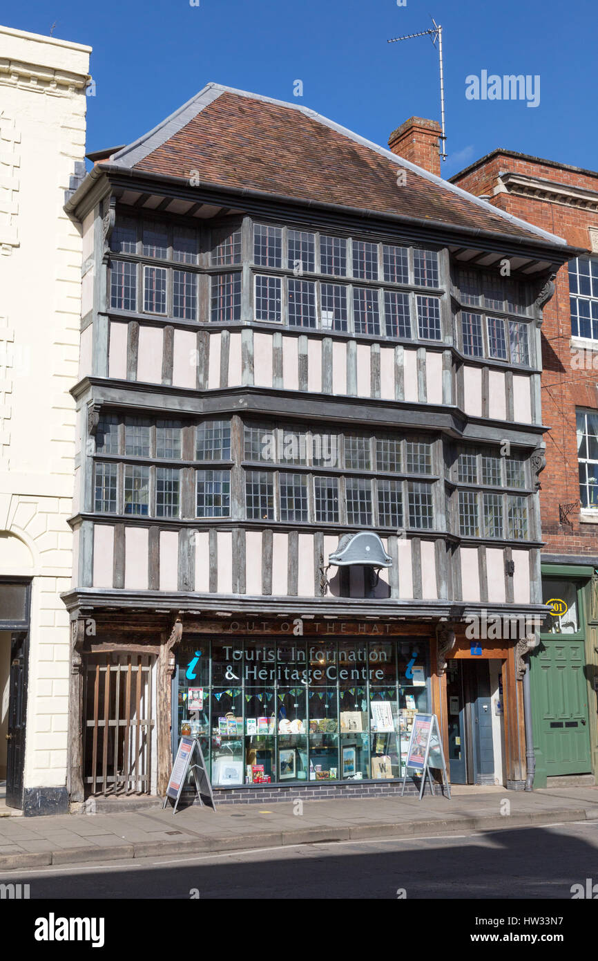 Tewkesbury Tourist Information and Heritage Centre, in a medieval 17th century, Tewkesbury, Gloucestershire England - Stock Image