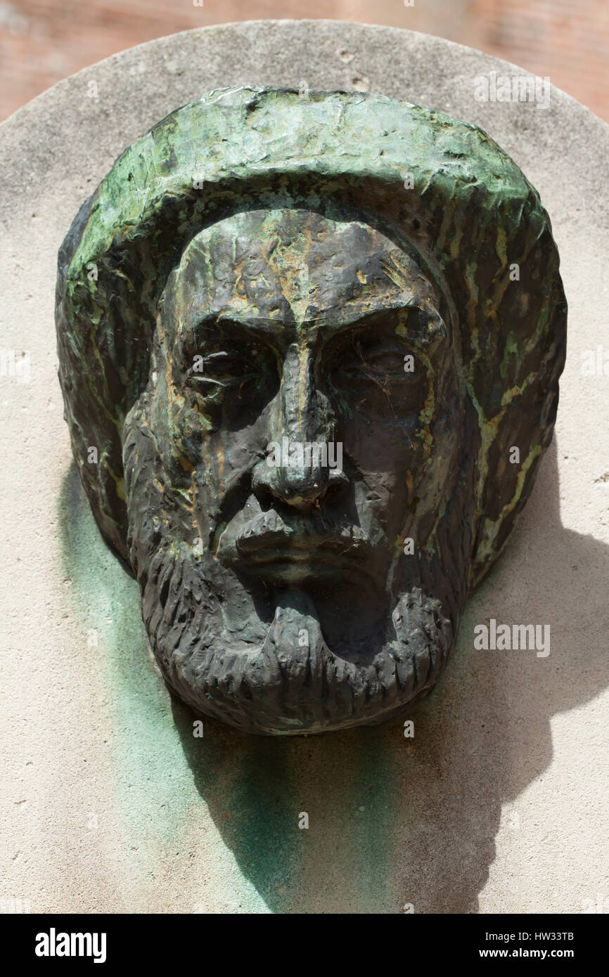 French modernist sculptor Antoine Bourdelle. Bronze mask (1925) placed on the Bourdelle Monument in front of the - Stock Image