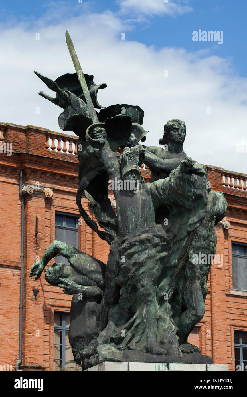 Monument aux Morts de Montauban by French modernist sculptor Antoine Bourdelle in Montauban, Tarn-et-Garonne, France. The monument to the fallen in the Franco-Prussian War (1870 - 1871) was modelled in 1898 to 1900 and erected in 1902. Stock Photo