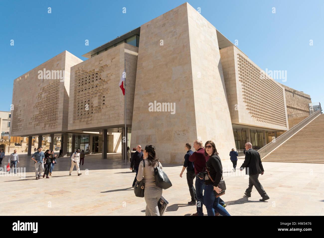 The Renzo Piano designed Parliament Building in Valetta Malta. Valetta will be the European City of culture in 2018 - Stock Image