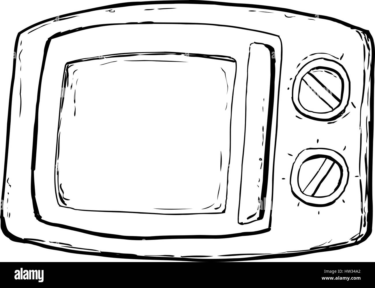 closed door clipart. Outlined Microwave Oven With Closed Door And Control Dials Over White Background - Stock Image Clipart 0
