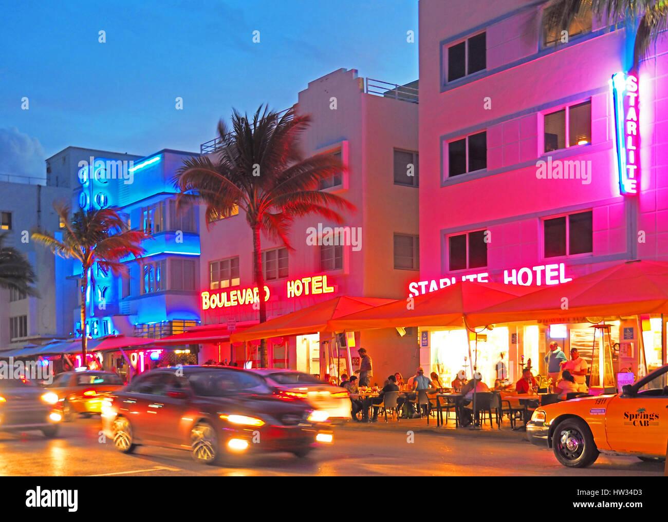 South Beach Art Deco District in Miami. - Stock Image