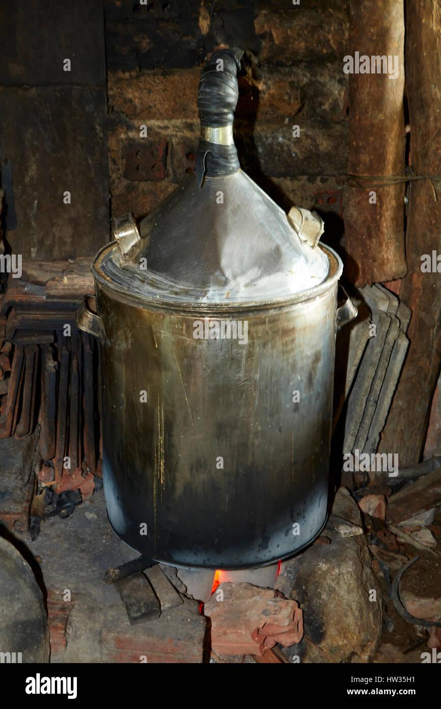 Distilling rice wine, Cam Kim Island, Hoi An, Vietnam - Stock Image