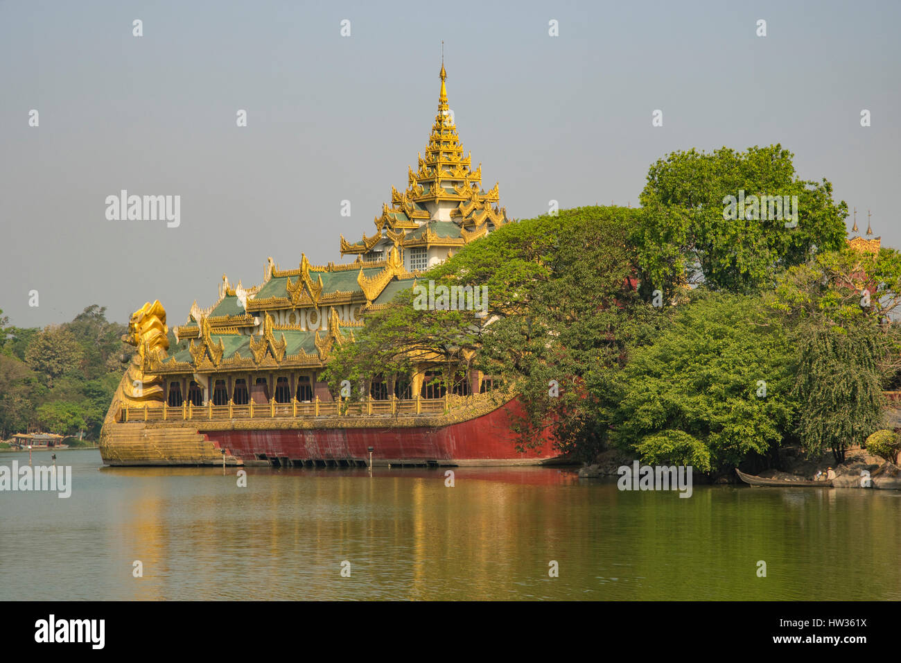 Karaweik Royal Barge, Kandawgyi Lake, Yangon, Myanmar Stock Photo