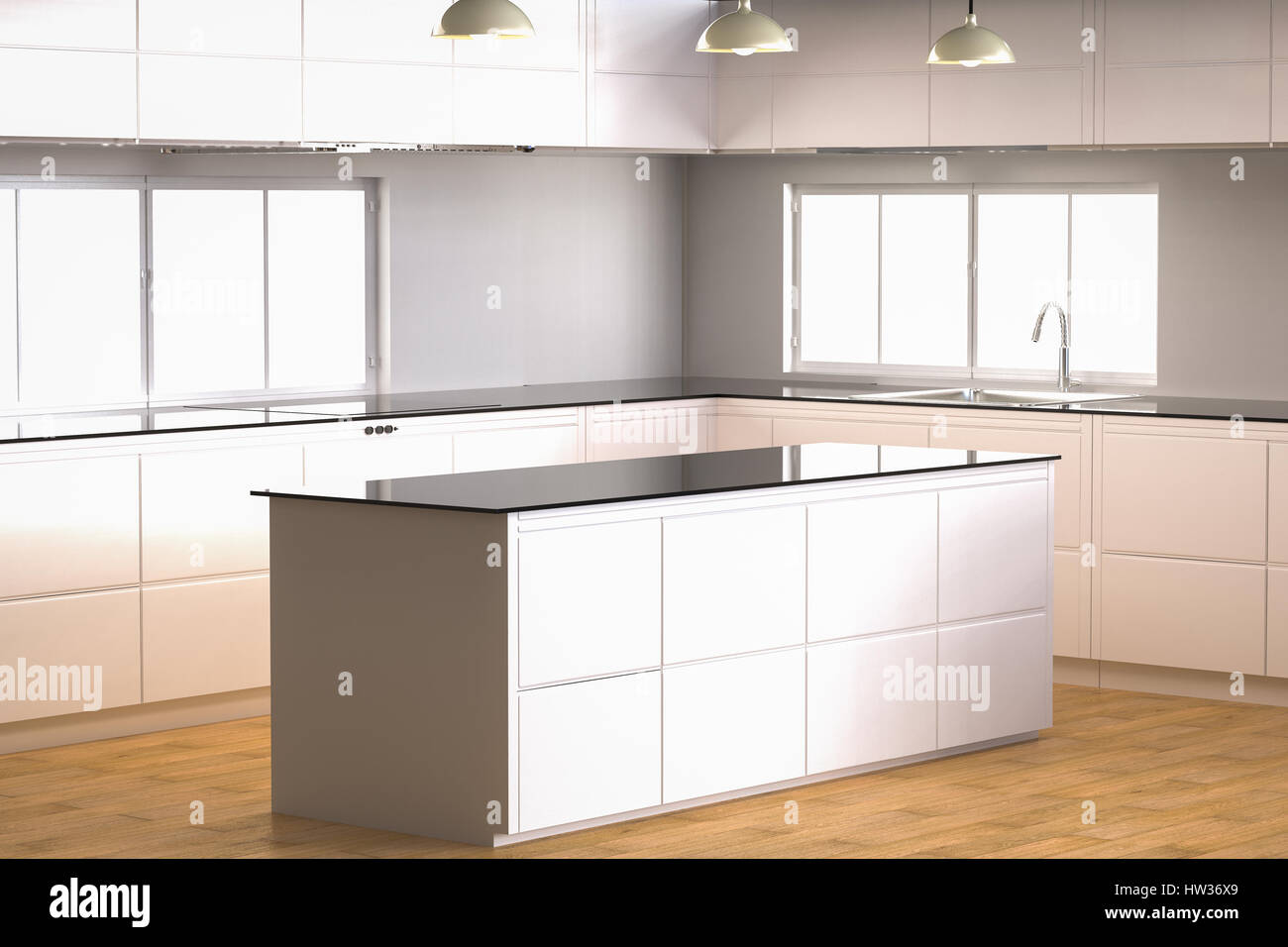 3d Rendering Empty Kitchen Cabinet With Counter
