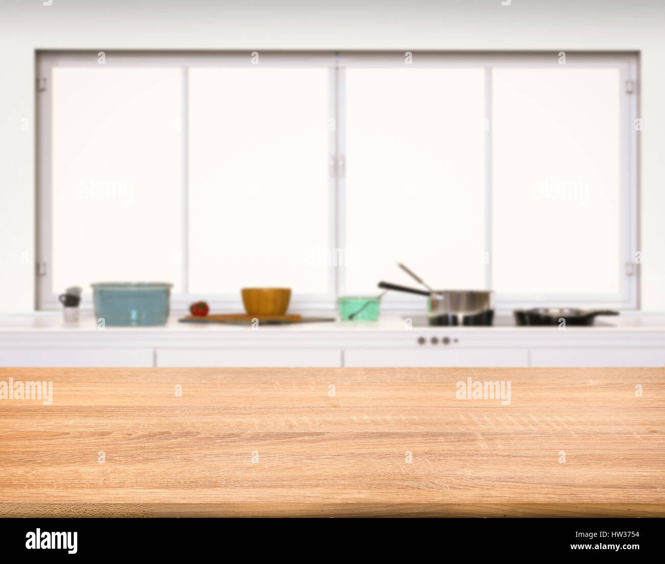 Kitchen Background Image: Empty Wooden Counter Top With Kitchen Background Stock