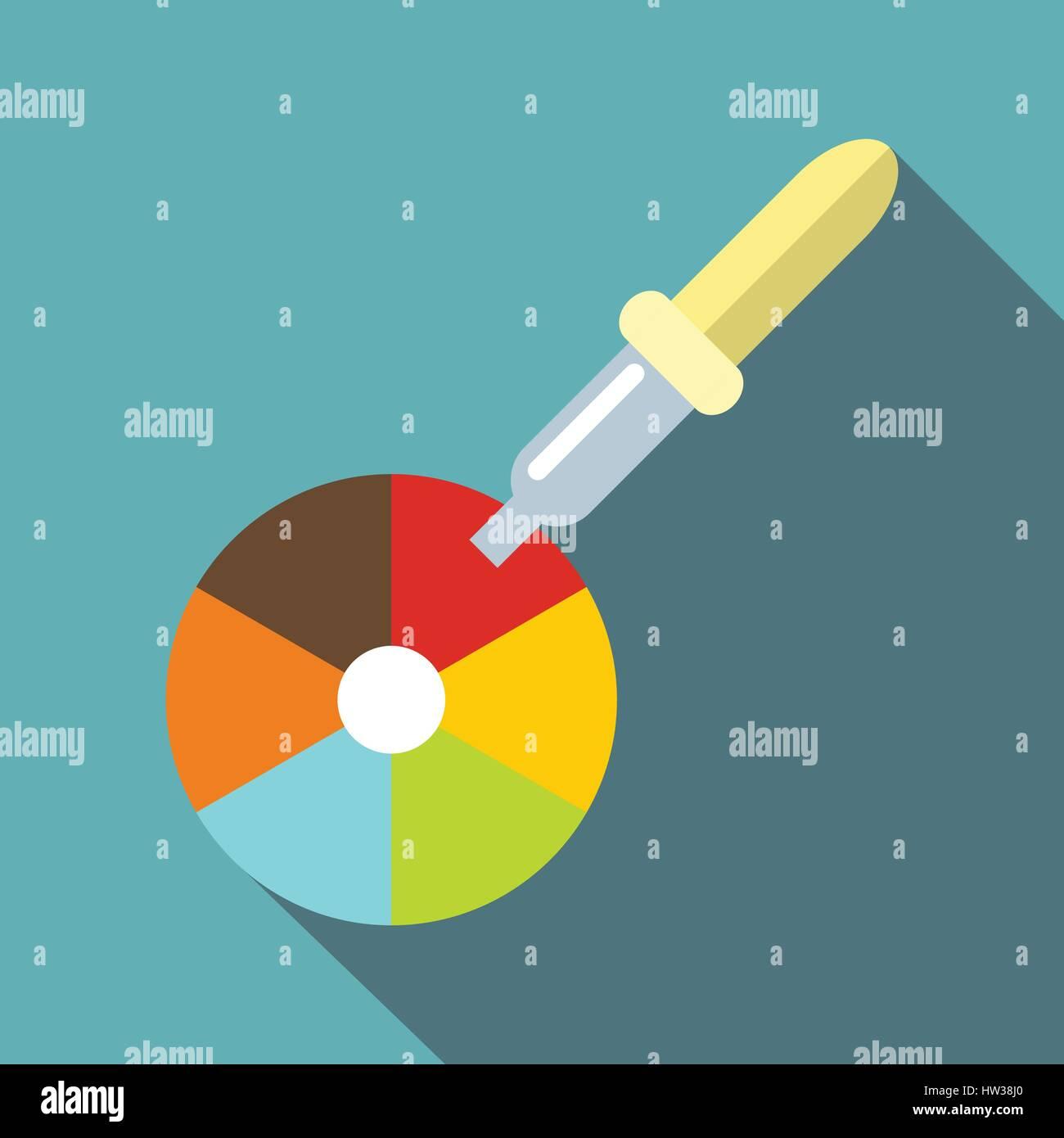 Color picker pipette icon, flat style Stock Vector Art