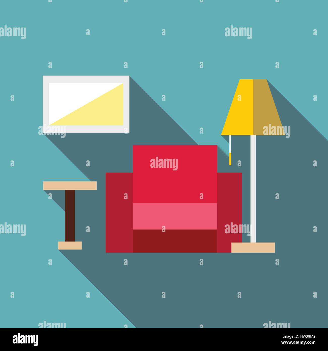 Living room icon, flat style - Stock Vector