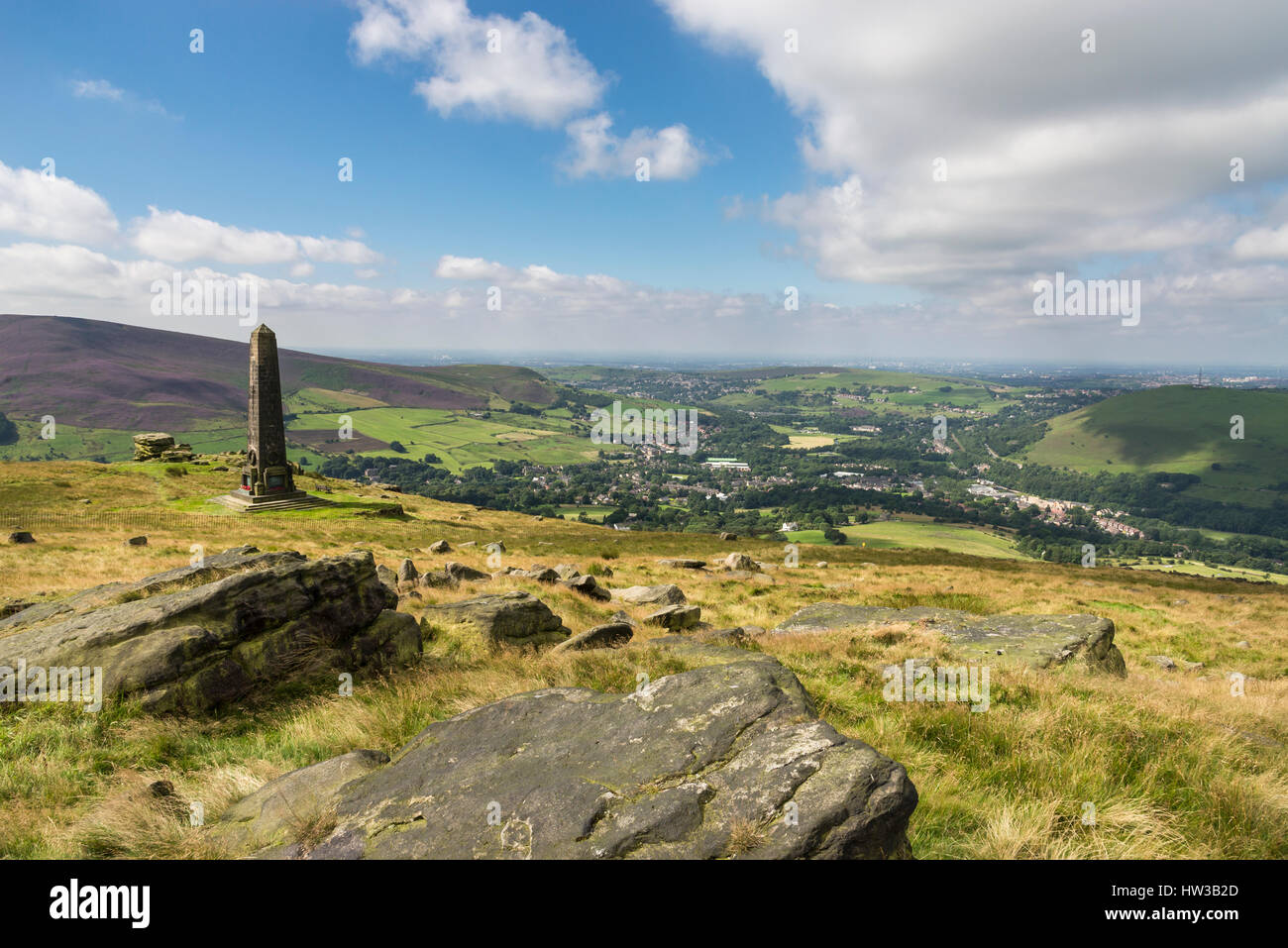 Saddleworth war memorial on the hill above Uppermill near Oldham, Greater Manchester, England - Stock Image