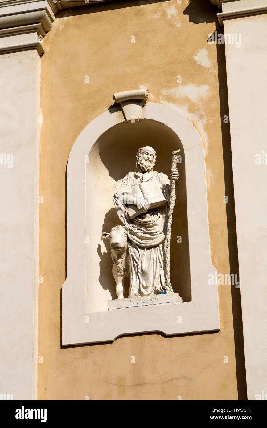 Detail of Saint Luke Figurine Adorning the Front of the Santa Maria Maddalena Church, in La Madellena Sardinia Italy. - Stock Image